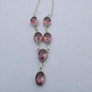 Jewelry - Pink amethyst 925 sterlimg necklace